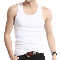Wholesale Ribbed Cotton Tank - Wholesale- Muscle Men Top Quality 100% Premium Cotton A-Shirt Wife Beater Ribbed Tank Top