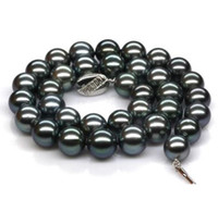 Wholesale Tahitian Pearl 19 Inch Necklace - Classic 9-10mm tahitian round black pearl necklace 19 inch 925 silver clasp