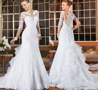 Wholesale covered bling wedding dresses - Long Sleeves Lace Mermaid Wedding Dresses 2017 Bling Romantic Appliques Lace Bridal Dresses Button Back Vestido De Noiva 2017 Spring Fall