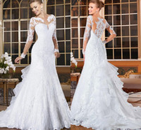 Wholesale mermaid organza wedding dresses bling online - Long Sleeves Lace Mermaid Wedding Dresses Bling Romantic Appliques Lace Bridal Dresses Button Back Vestido De Noiva Spring Fall