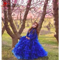 Wholesale High Glitz Pageant Dress Cupcake - Royal Blue Glitz Girls Pageant Dresses 2017 Ball Gown High Neck Long Sleeves Lace Tiered Organza Ruffles Cupcake Flower Dress For Girls