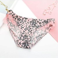 Wholesale Ruffle Low Waist - Small fresh sexy ice silk ladies underwear Low waist girl floral panties sexy lace underpants for girls