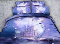 Wholesale Comforter Sets Swan - Galaxy Moon Swan 3D Printed Bedding Set Twin Full Queen King Size Dovet Cover Set Pillow Shams Comforter Dreamlike Castle Purple Bedspreads