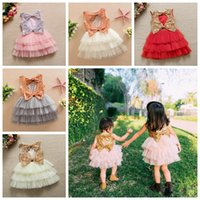 Wholesale fast shipping tutus resale online - girls sequin cake layer tutu skirts baby girl princess dress backout with big bow kids boutique clothes colors DHL fast shipping free