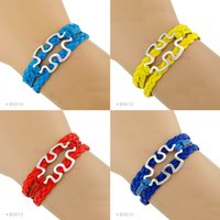 Wholesale Alloy Spokes - (10 Pieces Lot) Autism Speaks Bracelet Autism Awareness Jigsaw Puzzle Pieces Charm Bracelet Red Yellow Blue Aqua - Custom