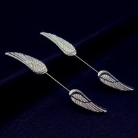 Wholesale Nipple Rings Wings - 2016 316L Surgical Steel Piercing Nipple Bars Ring with Angel Wings Body Piercing Jewelry 16 gauge for Women