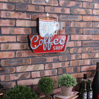 Wholesale Retro Neon Signs - Wholesale- Retro Neon Sign decorative painting Hot Cafe wrought iron wall decoration illuminated Coffee signboard hanging LED metal signs
