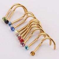 burun kemikleri mücevheratı toptan satış-Mix Renkler Rhinestone Burun Çiviler Vida Yüzük Kemik Bar Body Piercing Takı Altın Gümüş Burun Pin