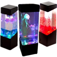 Wholesale Jellyfish Aquarium Lamps - Wholesale- Fashion Aquarium LED Relaxing Desk Lamp Night Light Bedside Table Motion LED Jellyfish Table Lamp