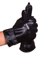 ingrosso guanti di moda invernali in pelle nera-Caldi guanti in vera pelle con cinturino posteriore in autunno inverno moda colore nero formato libero ciclismo attività all'aperto guanti