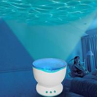 aurora led projetor venda por atacado-Interior Colorido Led Night Lights Projetor Oceano Daren Ondas Aurora Projeção Mestre USB Lâmpada Luz Com Alto-Falante Novidade Iluminação