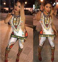 Wholesale Slimming Elegant Clothes - 2017-wholesale new African women clothes sets fashion designed Elegant boho print Dashiki clothing Casual sleeveless Long Tops+Pants
