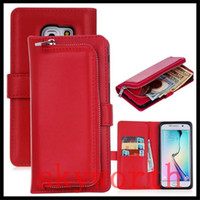 Wholesale wallet zip for iphone - Best Quality 3in1 Removable Zip Leather Wallet Case For Iphone 7 Plus 6s Samsung Galaxy S6 S7 edge cover Pouch+Card Slot Photo
