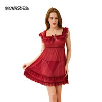 DANNSKARL Lingerie Hot Red Color Perspective Backless Sling Lace Эротическое женское белье стринги S-L Sexy Babydoll Chemise Sexy Costumes