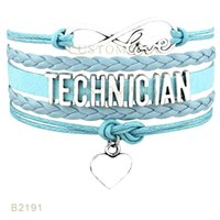 Western Style European American black technicians - Pieces Infinty Love Technician Heart Charm Bracelet Leather Wrap Black Pink Light Blue Mint Blue Bracelet Drop Shipping