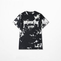 Men black merchandise - 2017 Justin Bieber Purpose Tour Merchandise Die dyed T Shirt Short Sleeve Summer Collection Print Split Detail