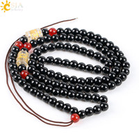 CSJA 6mm Round Black Glass Seed Mala Beaded Necklace for Jewelry DIY Making Adicionar Pingente por si mesmo Men Women Long Statement Necklace E607