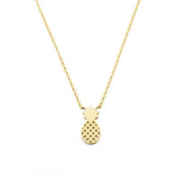 Wholesale Hot Summer Jewelry - Wholesale 10Pcs lot Hot Sale 2017 Fashion Summer Stainless Steel Jewelry Pendant Tiny Pineapple Gold Chains Choker Necklaces for Women