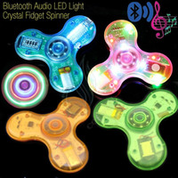 Wholesale Green Button Usb - New Crystal Bluetooth Audio Fidget Spinner Toys Hand Spinners LED Light USB Charger Switch Button EDC Finger Decompression Anxiety Toys DHL