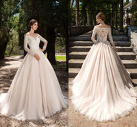 Wholesale red buttom - Vintge V Neck Long Sleeves A Line Wedding Dresses 2017 New Lace Appliques Soft Tulle Bridal Gowns With Covered Buttom Back