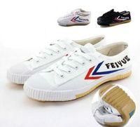 ingrosso uomini d'arti marziali-Sneaker Feiyue in tela leggera per uomo e donna, per arti marziali di Kung Fu e sport casual Scarpe di tela nere e bianche classiche