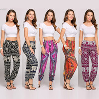 Wholesale Casual Yoga Clothes - 2017 New Thai Boho Style trousers pants women clothing Festival Happy Elastic Waist Elephant Yoga Clothes Cotton Polyester