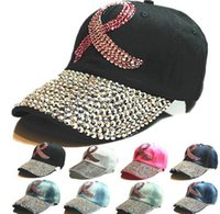 Wholesale Letters Colored Rhinestones - 2017 New 8 colors Retail Diamond Point Colored Ribbon denim pink caps women baseball cap girls Hat rhinestone print
