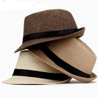 Wholesale Male Derby Hat - Women Hat For Men Hat Ladies Summer Beach Cap Sun Hat Female Panama Straw Male Gangster Trilby Fashion Sun Visor Cap