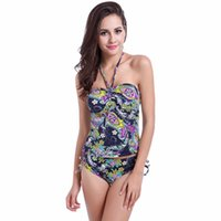 Wholesale Resort Swimwear - Ladies Floral Swimwear Summer Swimsuits Women Casual Beach Wear Navy Blue Color Holiday Beach Resort Vacation Clothing Free Shipping