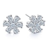Wholesale Bridal Earrings Diamond Chandelier - Bridal Sterling Silver Women Earrings Crystal Natural Gemstone Genuine White Topaz Wedding Diamond Shiny Charm Dangle Ear Jewelry
