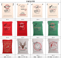 Wholesale Wholesale Drawstring Bags Cotton - Free Shipping 2018 Christmas Large Canvas Monogrammable Santa Claus Drawstring Bag With Reindeers, Monogramable Christmas Gifts santa sacks