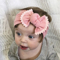 Wholesale bow ties for children - Fashion Bowknot Baby Girl Bow Headband Baby Aaccessories for Children Bow Tie Hair Bands Contrast Colors Elatic headwrap headdress 12 colors