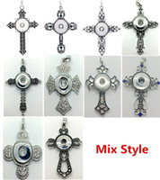 Wholesale Metal Cross Chain - Wholesale 10PCS Lot Mix Style Cross Snap Charm Pendant Necklace Interchangeable 18mm Ginger Snap Chunk Charm jewelry With 60cm Metal Chain