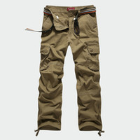 Wholesale Yellow Pants Casual For Men - 30-44 Plus size Tactical Men's Cargo Pants Casual Men Loose Pants Multi Pocket Army Overall for Men Long Trousers Militarys Clothing
