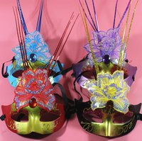 Wholesale butterflies picks resale online - Halloween party dress party mask mask variety luminous double butterfly rain can be picked