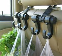Wholesale Clothing Rack Wholesale - Universal car hooks double for clothes Handbags Grocery Bags Convenient headrest chair Seat back rear storage holder rack hangers