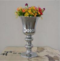 Wholesale Large Flower Vases Wholesale - H43cm L size metal flower vase for home decoration accessories wedding silver large vase for wedding decoration