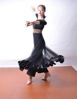 Wholesale Rosette Jumpsuit - Sexy black gauze Jumpsuit modern dance waltz Tango Foxtrot quickstep costume competition wear evening dress GB ballroom dance skirt