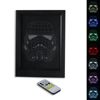 Wholesale Trooper Star - 3D Storm Trooper LED Photo Frame IR Remote 7 RGB Lights AAA Battery or DC 5V Factory Wholesale Dropship Free Shipping