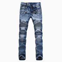jeans de color invierno al por mayor-Nueva marca de moda de la llegada Hombre WinterSpring pantalones de color claro pantalones de la motocicleta de los hombres vaqueros rectos delgados negro / azul / blanco
