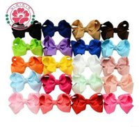 Wholesale 40pcs Ribbon Bows with Clip solid color bows clip baby hair bow boutique hair accessories girls hair clips inches