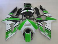 carenagem ninja zx venda por atacado-3 presente New Hot ABS motocicleta Carenagem kits 100% Apto Para Kawasaki Ninja Branco ZX-6R 2003 2004 6r 03 04 ZX-6R Verde Preto