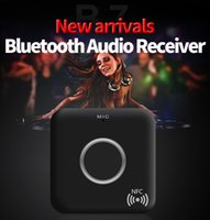 Wholesale Nfc Bluetooth Receiver - 2017 New arrival B7 car bluetooth audio receiver, double 3.5mm AUX output port, build-in NFC quick connect and HD mic