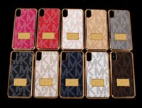 Wholesale Iphone Luxury Leather Chrome - Luxury Brand Chrome Leather PU Case For Iphone X 8 Plus M K Leather Back Cover Shell For Iphone 8 7 Plus 6 6S Samsung S8 Plus S7 MOQ:10pcs