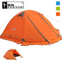 Wholesale Base Camp Tent - Wholesale- FLYTOP Winter tent 2persons Tourist aluminum pole double layer double door windproof proof professional camping tent 3colors
