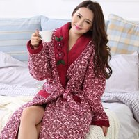 Wholesale Thick Nightgown - Wholesale- 2016 New Winter Nightgown Bath Robe Women Bathroom Robe Female Bathrobe Quilted Pajamas Mujer Thick Spa Robe Shower Homewear
