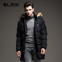 Wholesale White Western Jacket - Wholesale- OLRIK Winter Brand New Men Down Jacket Coats Long Coats Dress Jackets Western Style Overcoats Thick Warm Duck Down Parkas Hooded