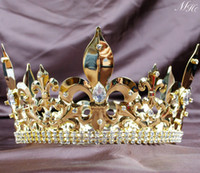 Wholesale Medieval Accessories - Imperial Medieval Large Crowns Full Rould Gold Tiaras For Men Clear Crystal Pageant Party Costumes Diadem Hair Jewelry