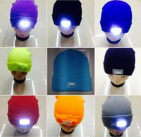 Wholesale Snowmen Knit Hats - 5 LED Headlamp Glow Mountaineer Fishing Hat Adult &Kids Winter Snowman Warmer Knitting Cap Outdoor Skiing Sport Hat New Year Gift