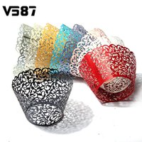 Wholesale Paper Flower Cups - Wholesale-Hollow Out Flower Vine Cupcake Paper Wrappers Wraps Cases Muffin Cake Cup Wedding Birthday Party Decorations 12pcs Pack